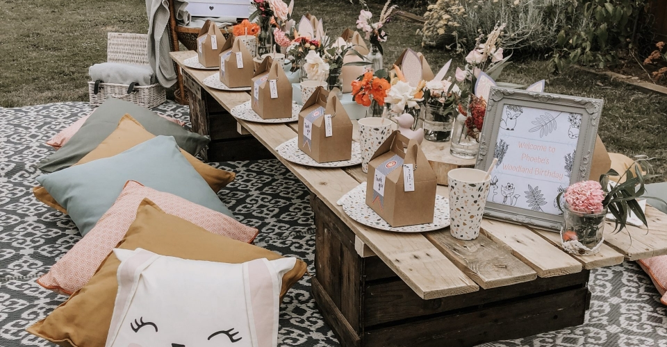 Dreamy woodland picnic party inspiration from www.pitch-boutique.co.uk - featuring peacock chairs, English garden florals and woodland creatures!